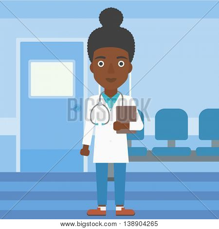 An african-american young female friendly doctor with stetoscope standing in hospital corridor and carrying folder of patient or medical information. Vector flat design illustration. Square layout.