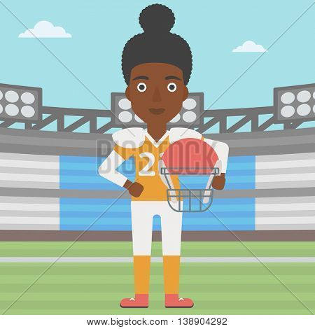 An african-american professional rugby player holding ball and helmet in hands. Female rugby player in uniform standing on rugby stadium. Vector flat design illustration. Square layout.