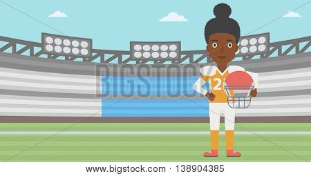 An african-american professional rugby player holding ball and helmet in hands. Female rugby player in uniform standing on rugby stadium. Vector flat design illustration. Horizontal layout.