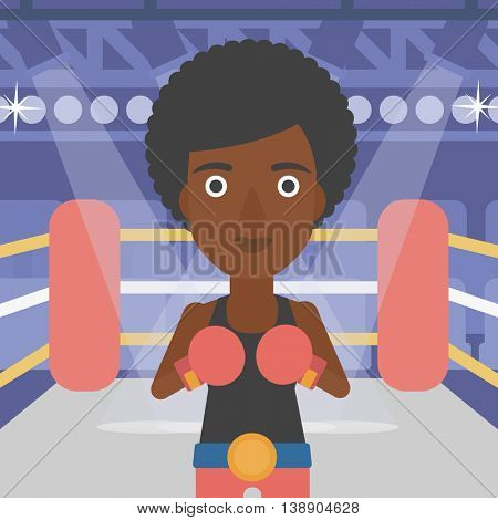 An african-american sportswoman in boxing gloves. Professional female boxer standing in the boxing ring. Vector flat design illustration. Square layout.