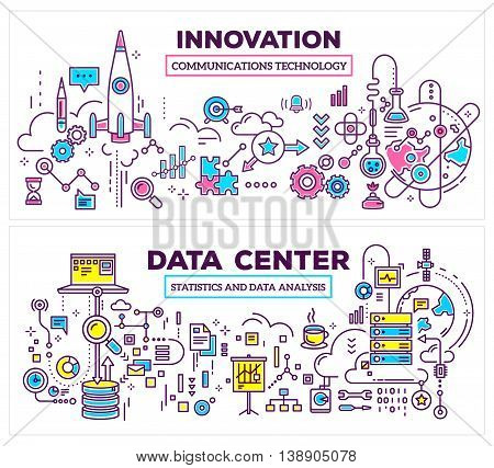 Vector creative concept illustration of data center and innovation technology on white background. Horizontal composition template. Hand draw flat thin line art style monochrome design for server and innovation technology theme