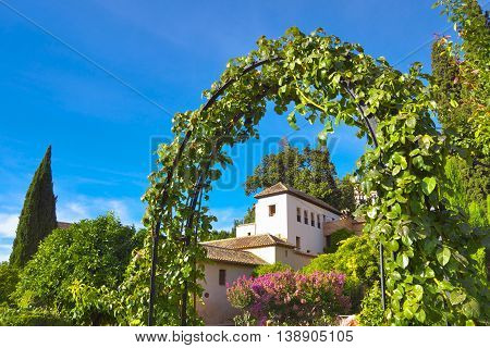 Generalife Gardens in Alhambra in summer Granada Spain