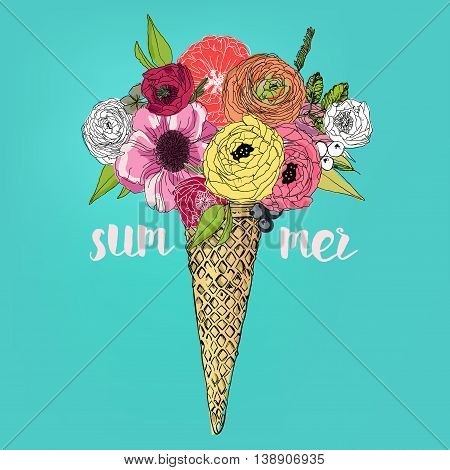 Ice Cream Bouquet with colorful flowers. vector illustration