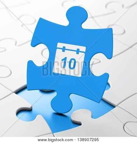Time concept: Calendar on Blue puzzle pieces background, 3D rendering