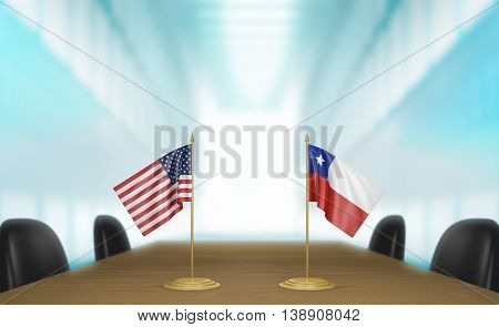 United States and Chile relations and trade deal talks, 3D rendering