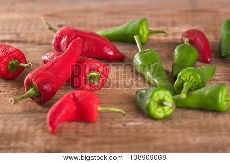Close up of a group of hot chili peppers.