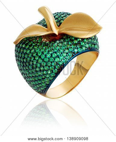 Jewelry. Gold ring with green gems. Gemstone ring with emeralds.
