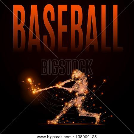 Abstract line baseball player in motion. Silhouette of a man made of lines and points. Polygonal background baseball competitions. Fire style vector illustration