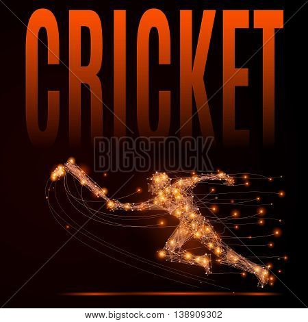 Abstract cricket background. Line point Cricketer in motion on dark. Vector polygonal illustration