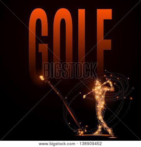 Abstract line Golfer hits the ball. Silhouette of a man made of lines and points in motion. Polygonal background golf competitions. Fire style vector illustration