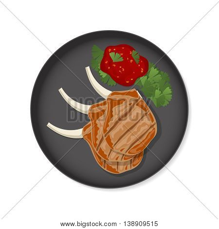Grilled ribs with sauce and greens on a frying pan. Top view stock vector dish on white background