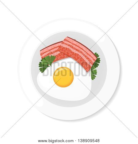 bacon and eggs with greens on a frying pan. Top view stock vector dish on white background