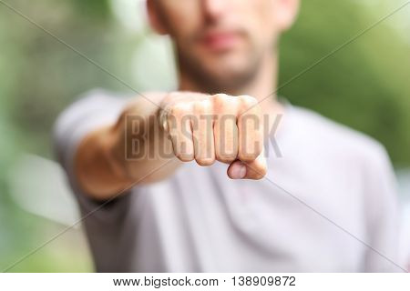 Man fist with space for tattoo