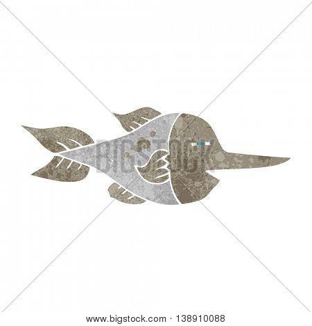 freehand drawn retro cartoon swordfish