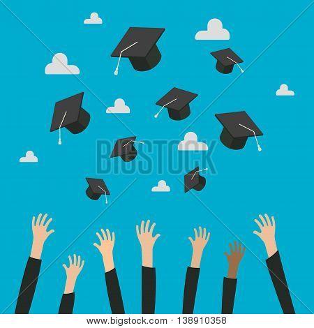 Concept of Education. Graduates Throwing Graduation Hats in the Air. Celebration Education Graduate Student Success. Flat design, vector illustration.