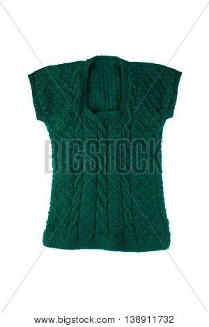 Green knitted vest isolated on white background