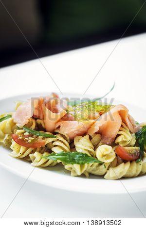 smoked salmon organic tomato and basil fresh pasta salad with ricotta cream sauce and dill