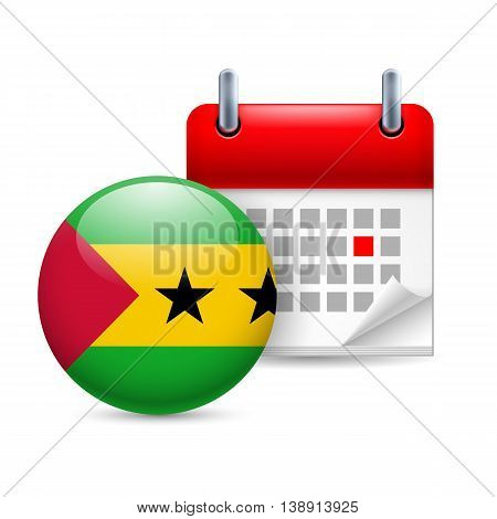 Calendar and round flag icon. National holiday in Sao Tome and Principe