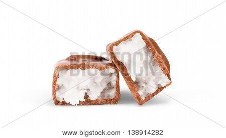 chocolate bar on white background bar, coconut, nut, dark
