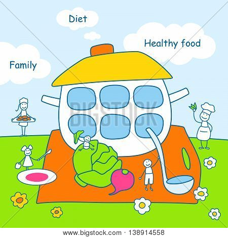Family stories: diet and healthy food. Linear, colored.