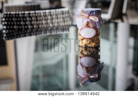 Cookies inside jar with white blank label