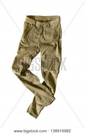 Casual khaki pants isolated on white background