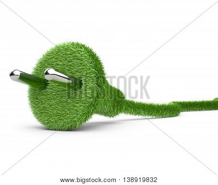 Alternative energy. 3d conceptual image. Grass covered electrical plug and cord.