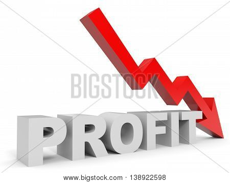 Graph down profit arrow on white background. 3D illustration.