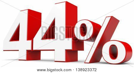 Discount 44 percent off on white background. 3D illustration.