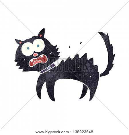 freehand retro cartoon scared black cat