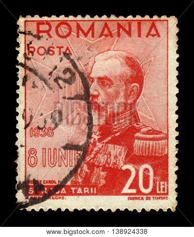 ROMANIA - CIRCA 1938: A stamp printed in Romania shows portrait of King Carol I of Romania, circa 1938