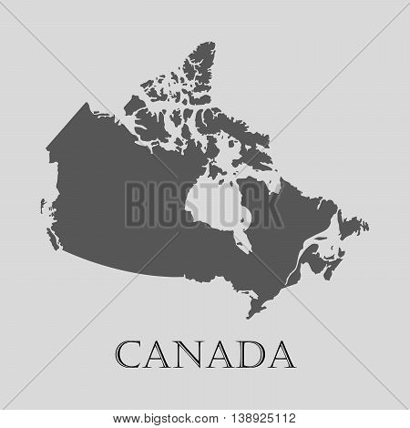 Gray Canada map on light grey background. Gray Canada map - vector illustration.