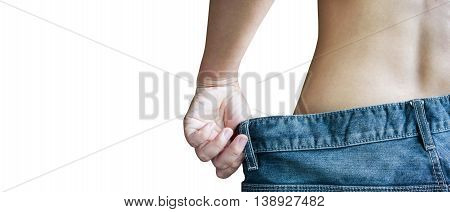 Small Waist At Diet Women Rare View With Big Loose Denim Jeans