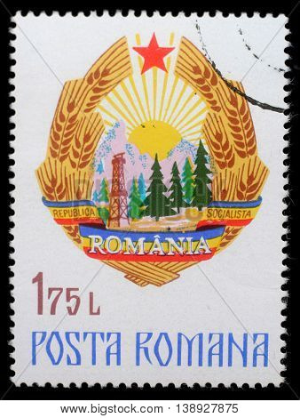ZAGREB, CROATIA - JULY 19: a stamp printed in Romania shows Coat of Arms of Romania, circa 1976, on July 19, 2014, Zagreb, Croatia