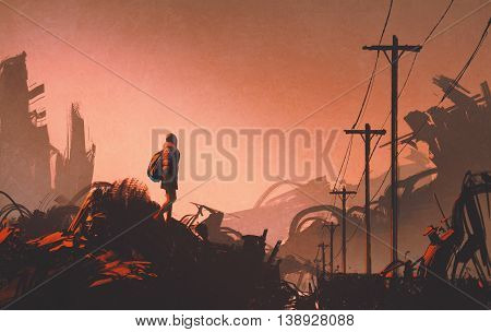 woman hiker looking at abandoned city, illustration painting