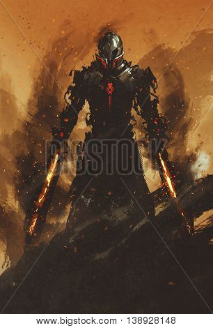 warrior posing with fire flame swords on fire background, illustration painting