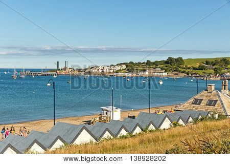 Swanage Dorset UK - July 2016. A view of Swanage bay looking towards Bournemouth and Old Harry rock at Swanage in Dorset UK