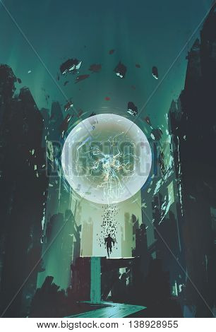 lightning ball and geometry in the form of human with building background, illustration painting