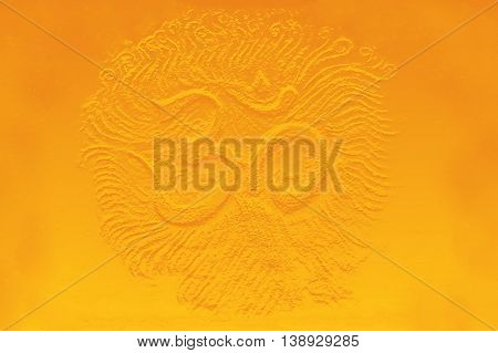 golden om symbol emanating light, illustration on abstract background.