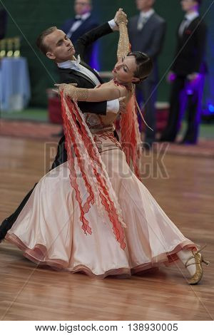 Minsk Belarus -May 28 2016: Makei Zahar and Masalkova Sofiya Perform Youth-2 Standard Program on National Championship of the Republic of Belarus in May 28 2016 in Minsk Belarus