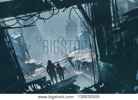 man and boy standing looking out at ruined city with snow storm, illustration painting
