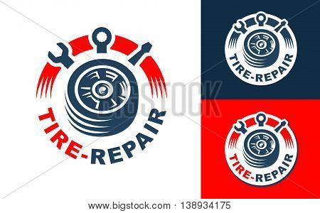 Logo design Tire Repair on light and dark background.
