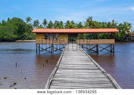 Fisherman jetty at Kuala Penyu,Sabah,Borneo.Kuala Penyu is a small town in south west of Sabah, and majority of the population there are Dusun Tatana,Brunei and Bisaya people.