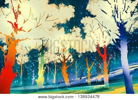 fantasy forest with colorful trees, landscape digital painting
