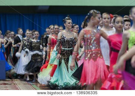 Minsk Belarus -May 28 2016: Dance couples prior to Parade Ceremony of National Championship of the Republic of Belarus in May 28 2016 in Minsk Belarus