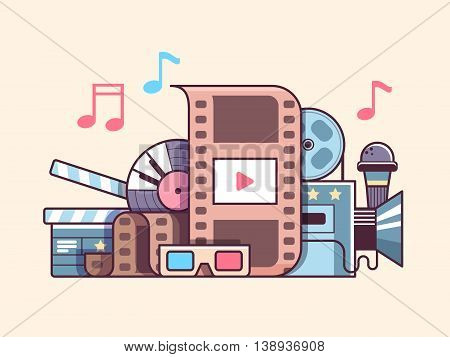 Cinema cocncept flat. Video production and cinematography media industry, vector illustration