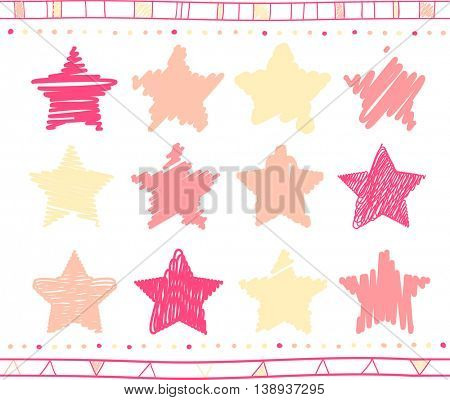 Vector collection of retro scribbled stars with hand drawn style of yellow, pink and magenta colors