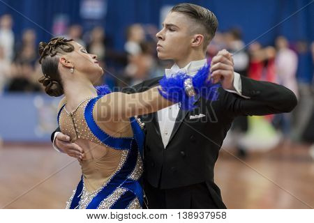 Minsk Belarus -May 28 2016: Daniil Shmidt and Alina Gumenyuk Perform Youth-2 Standard Program on National Championship of the Republic of Belarus in May 28 2016 in Minsk Republic of Belarus