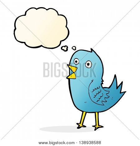 cartoon bluebird with thought bubble
