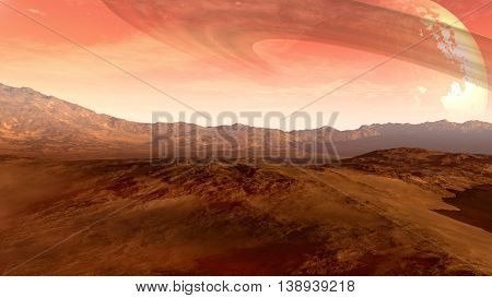 3D illustration of a Mars-like red planet with an arid landscape, rocky hills and mountains, and a giant moon at the horizon with Saturn-like rings, for space exploration and science fiction backgrounds.